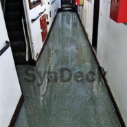 Completed SynDeck Deco Flake System in Green on UK Navy Passageway