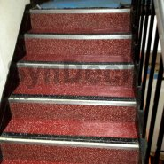 Completed SynDeck Epoxy System with Flake in Red on Ferry Stairs